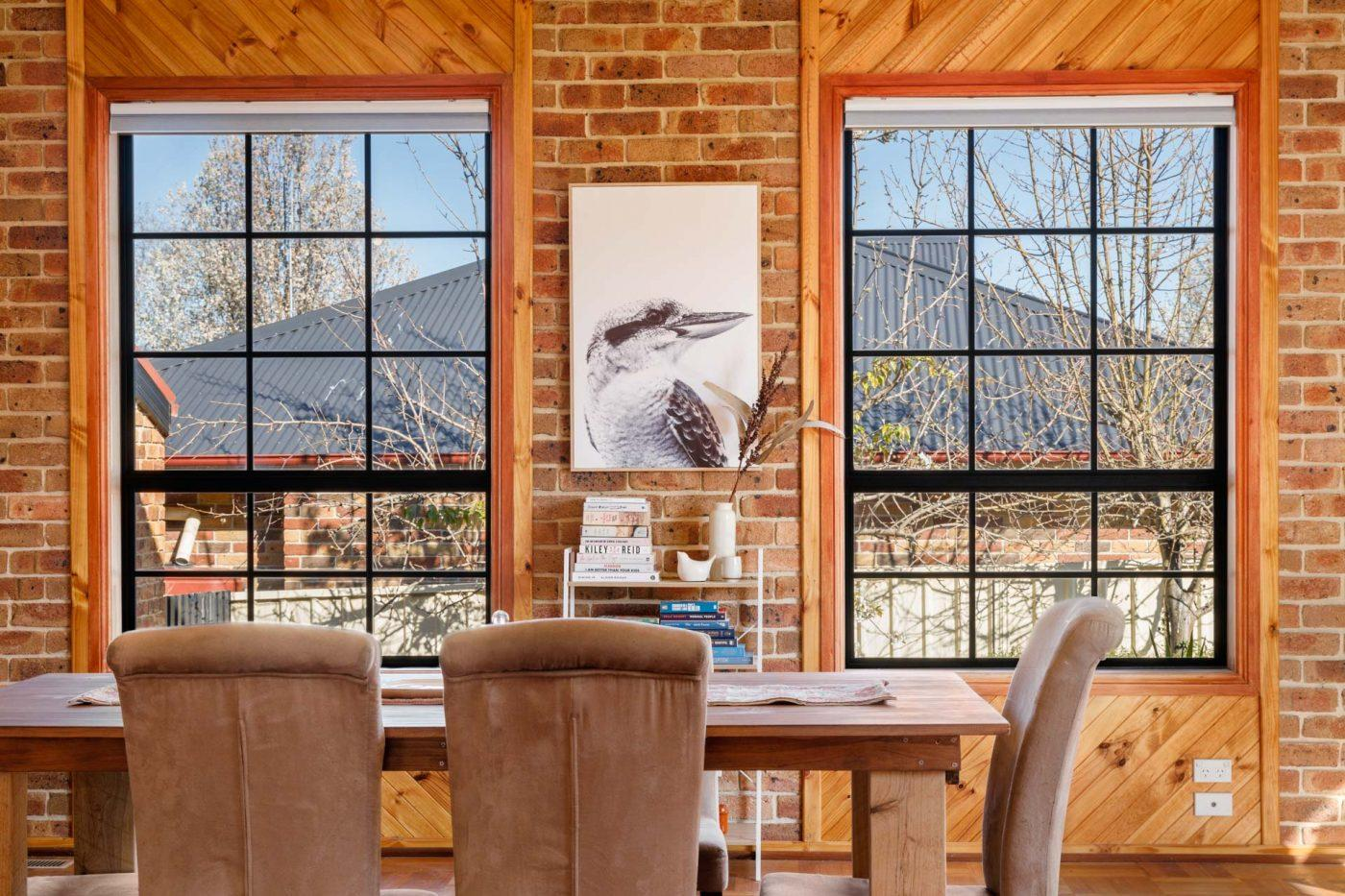 Rustic Dining Area with Brick Wall