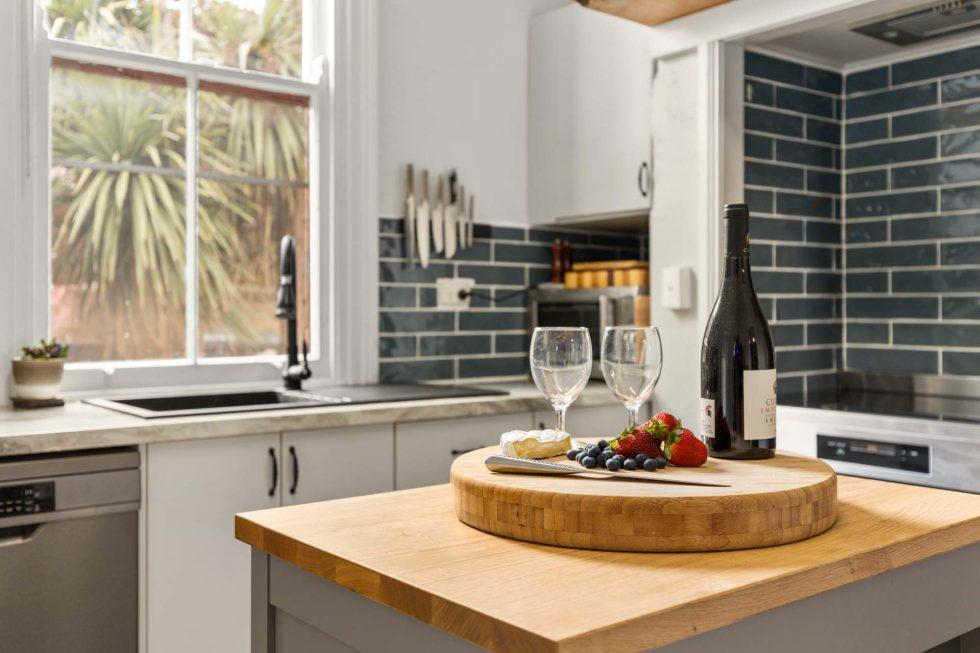 Cosy Kitchen with Cheese Plate & Wine Display