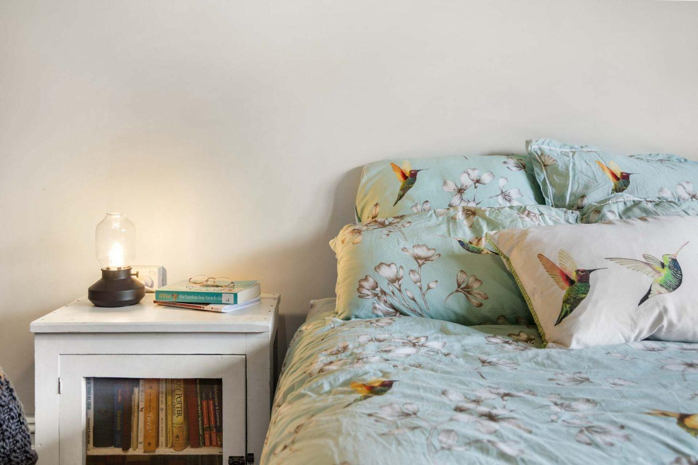 Cosy Bedroom with Unique Bedside Lamp